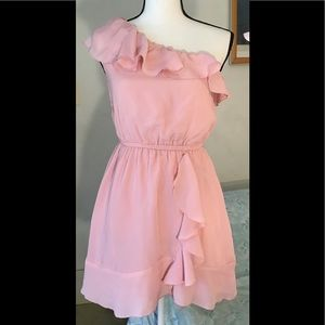 Beta House pink one shoulder dress with lining S